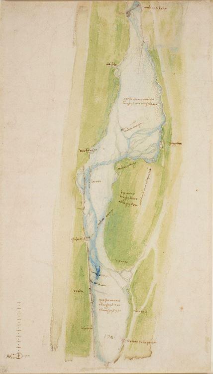 Floransa'nın doğusundaki Arno haritası, 1504 dolayları picture