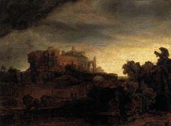 Yapılarla Manzara, 1642-1646, Ahşap üzerine yağlıboya, 44.5 x 70 cm, Musée du Louvre, Paris, Fransa.