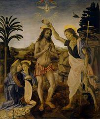 Andrea del Verrocchio ve Leonardo da Vinci, İsa'nın Vaftiz Edilişi, 1470-1475 dolayları, Ahşap üzerine yağlıboya ve tempera, 177 x 151 cm, Uffizi Gallery, Florence, İtalya.