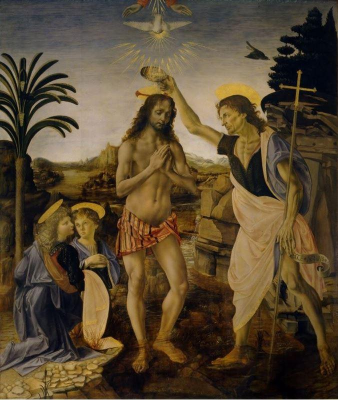 Andrea del Verrocchio ve Leonardo da Vinci, İsa'nın Vaftizi, 1470-1475 dolayları resmi