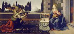 Meryem'e Müjde, 1472-1475 dolayları, Ahşap üzerine yağlıboya ve tempera,  98 x 217 cm,  Uffizi Gallery, Florence, İtalya.