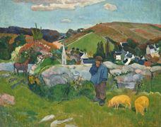 Breton Manzarası ve Domuzlar, 1888