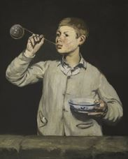 Show Boy Blowing Bubbles, 1867 details
