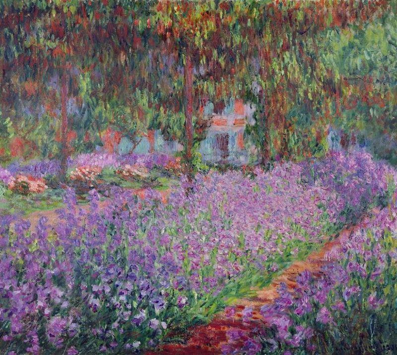 Monet'nin Bahçesinde Süsenler, 1900 resmi