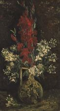 Show Vase with Red and White Flowers, 1886 details