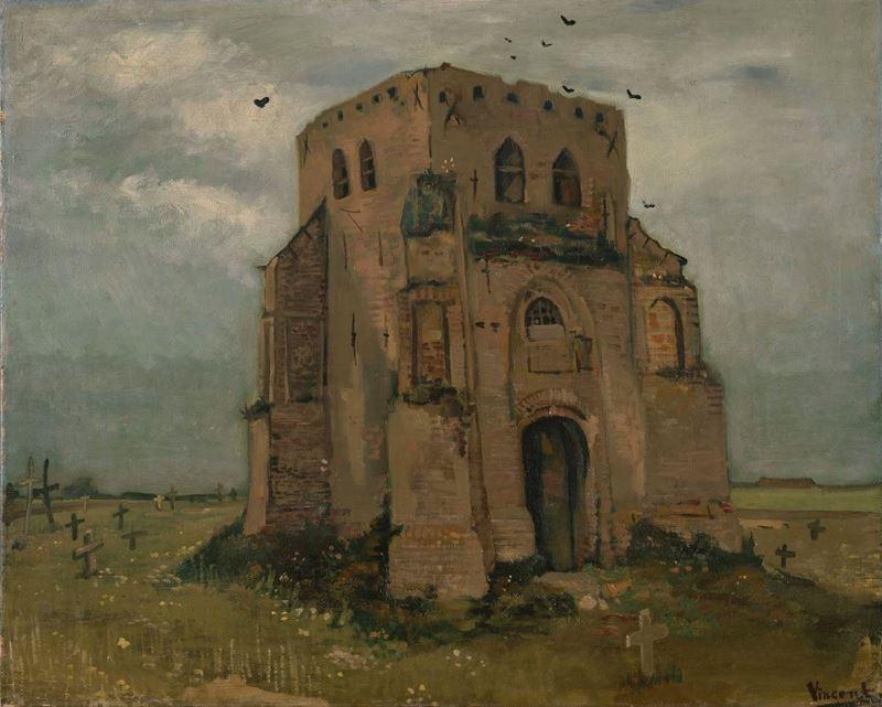Nuenen'de Eski Kilise Kulesi, 1885 resmi
