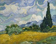 Show Wheat Field with Cypresses, 1889 details