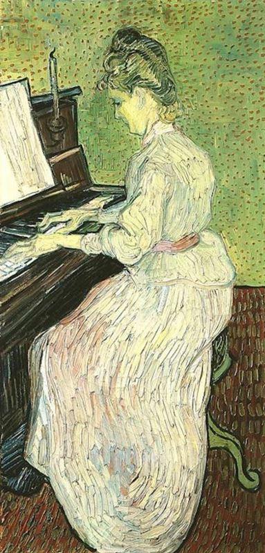Marguerite Gachet Piyano Çalarken, 1890 resmi