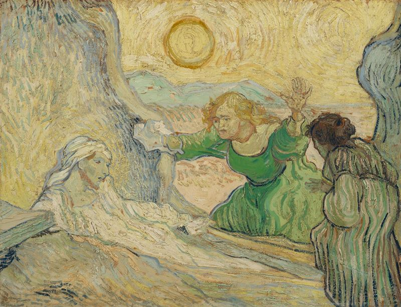 Lazarus'un Dirilişi (Rembrandt'tan esinle), 1890 resmi