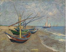 Show Fishing Boats on the Beach at Saintes-Maries, 1888 details