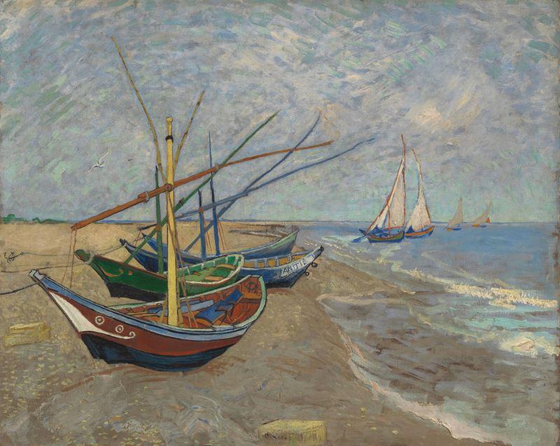 Saintes-Maries Sahilinde Balıkçı Tekneleri, 1888 resmi