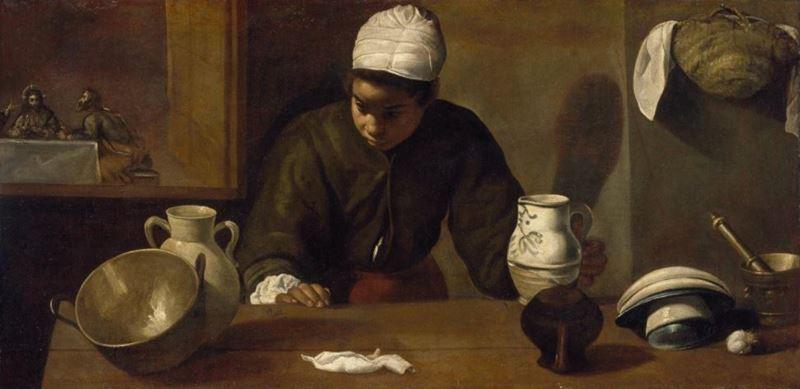 Emmaus'ta Yemek ile Mutfak Hizmetçisi, 1617-1618 resmi