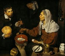 Show An Old Woman Cooking Eggs, 1618 details