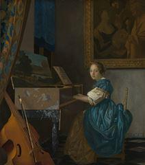 Piyanosunun Yanında Oturan Bakire, 1670-1672 dolayları, Tuval üzerine yağlıboya, 51.5 x 45.5 cm, The National Gallery, London, İngiltere.