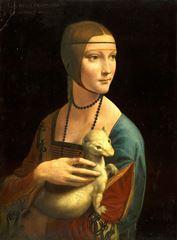 Erminli Kadın (Cecilia Gallerani), 1483-1490, Ahşap üzerine yağlıboya, 54.8 x 40.3 cm, Czartoryski Museum, Cracow, Polonya.