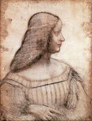 Isabella d'Este'nin Portresi, 1499-1500, Siyah ve kırmızı tebeşir, 61 x 46.5 cm, Musée du Louvre, Paris, Fransa.