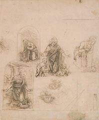Olasılıkla Kayalıklar Madonnası için taslaklar, 1480-1485, 19.3 x 16.2cm, The Metropolitan Museum of Art, New York, ABD.