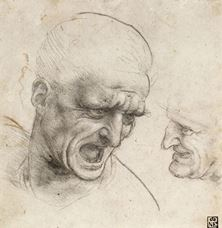 Show Study of Two Warriors' Heads for the Battle of Anghiari, c. 1504-1505 details