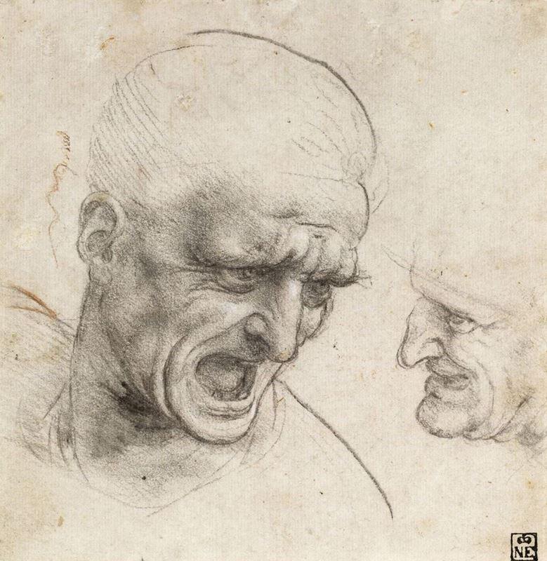 Anghiari Savaşı için iki savaşçı başı çalışması, 1504-1505 dolayları resmi