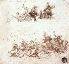 Anghiari Savaşı için taslak, 1503-1504, Kalem ve mürekkep, 145 x 152 mm, Gallerie dell'Accademia, Venice, İtalya.