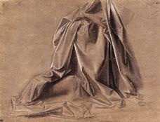 Oturan bir figür için kumaş kıvrımı çalışması, 1472-1475 dolayları