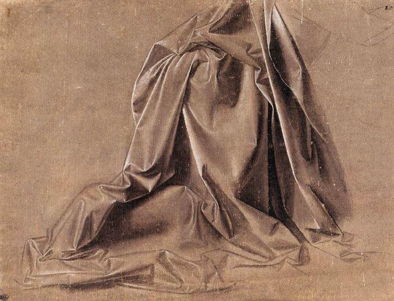 Oturan bir figür için kumaş kıvrımı çalışması, 1472-1475 dolayları resmi