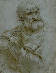 Son Akşam Yemeği için çalışma, Havari Petrus, 1493-1495, Mavi renkte özel kağıda kalem ve mürekkep, 145 x 113 mm, Albertina Museum, Vienna, Avusturya.