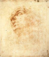 Tondo Doni için eskiz, 1504 dolayları, Kırmızı tebeşir, 199 x 172 mm, Casa Buonarroti, Florence, İtalya.