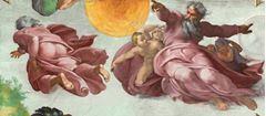 Güneşin ve Ayın Yaratılışı, Sistine Şapeli tavanından ayrıntı.