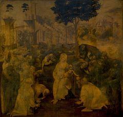 Müneccim Kralların Tapınması, 1481-1482, Ahşap üzerine yağlıboya, 243 x 246 cm, Uffizi Gallery, Florence, İtalya.