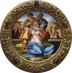 Kutsal Aile ve Aziz Yahya (Tondo Doni), 1506 dolayları, Ahşap üstüne tempera, Çapı 120 cm, Uffizi Gallery, Florence, İtalya.