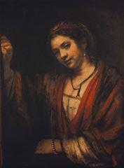 Açık Kapıdaki Kadın (Hendrickje Stoffels), 1656-1657, Tuval üzerine yağlıboya, 88.6 x 67.9 cm, Staatliche Museen zu Berlin, Berlin, Almanya.