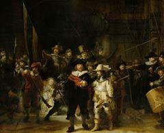 Gece Nöbeti, 1642, Tuval üzerine yağlıboya, 379.5 x 453.5 cm, Rijksmuseum, Amsterdam, Hollanda.