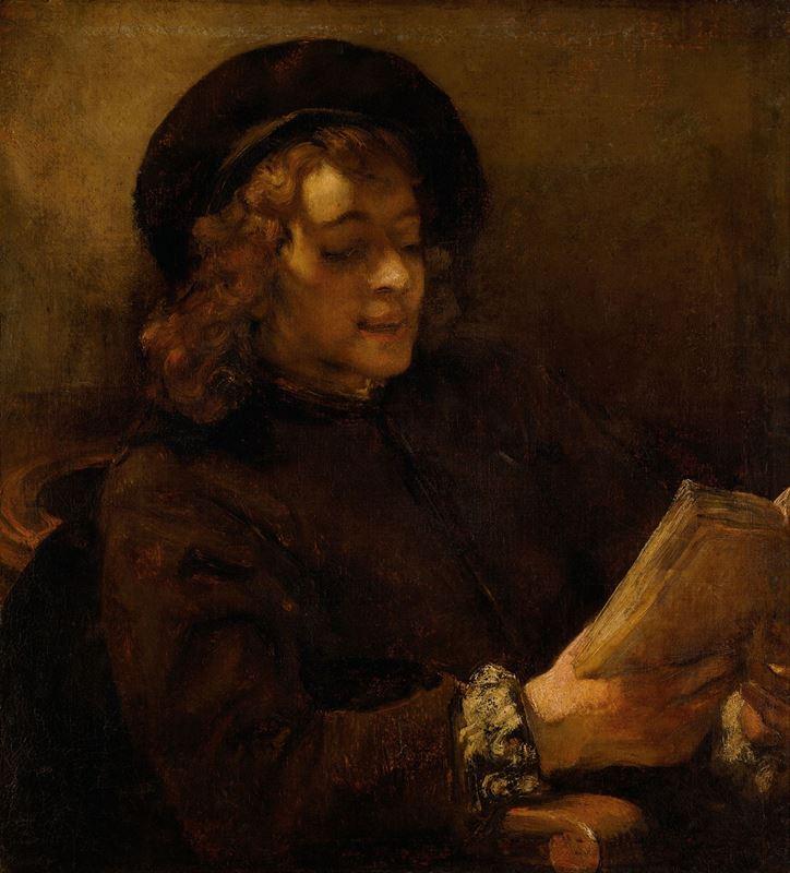 Sanatçının Oğlu Titus van Rijn Okurken, 1656-1657 resmi