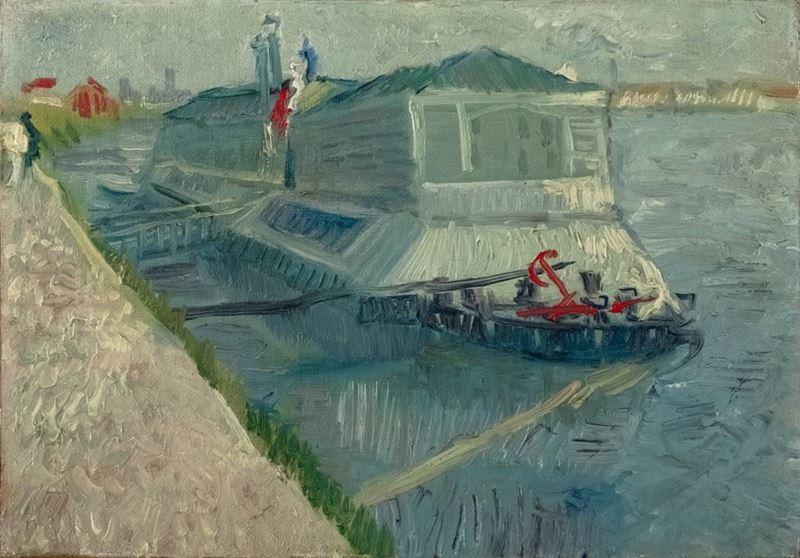 Asnières'de Seine Üzerinde Çamaşırhane Teknesi, 1887 resmi