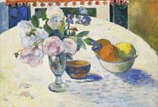Show Flowers and a Bowl of Fruit on a Table, 1894 details
