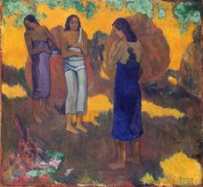 Show Three Tahitian Women Against a Yellow Background, 1899 details