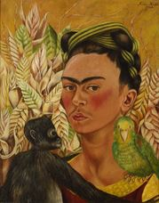 Show Self-Portrait with Monkey and Parrot, 1942 details