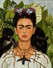 Show Self-Portrait with Thorn Necklace and Hummingbird, 1940 details