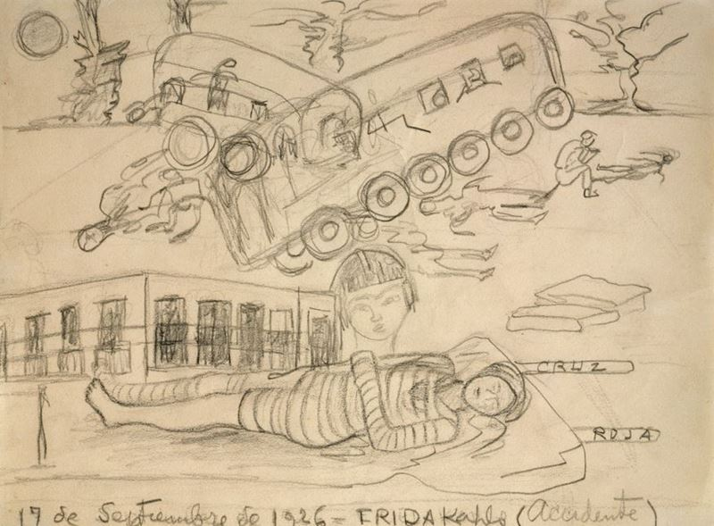 Kaza, 1926, Kâğıt üzerine karakalem, 20 x 27 cm, Collection of Juan Coronel, Cuernavaca, Meksika.