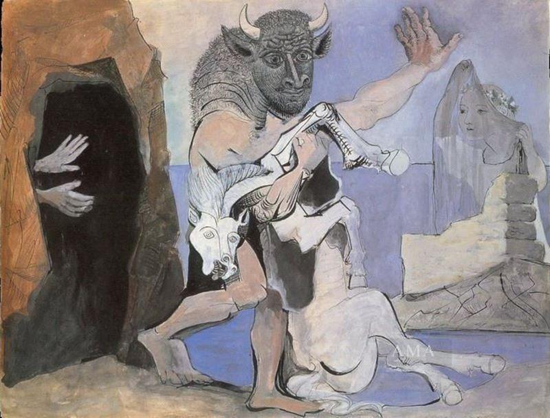 Bir Mağara Önünde Minotauros ve Ölü Kısrak, 1936 resmi