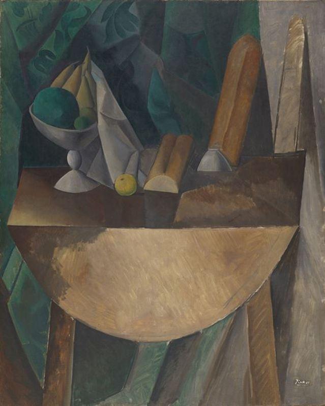 Masadaki Ekmek ve Meyve Tabağı, 1909 resmi