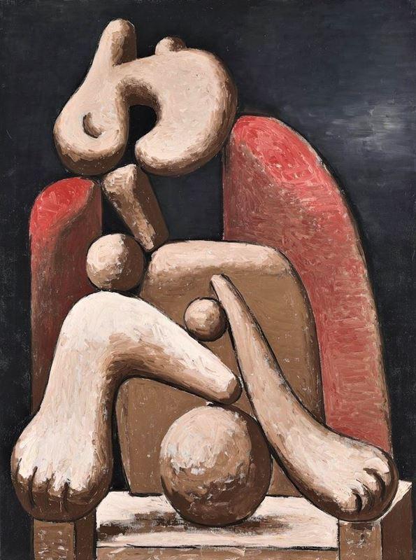 Kırmızı Koltuktaki Kadın, 1932 resmi