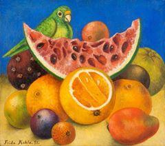 Papağan ve Meyve ile Natürmort, 1951, Tuval üzerine yağlıboya, 25.7 x 28.2 cm, Harry Ransom Center, Austin, ABD.