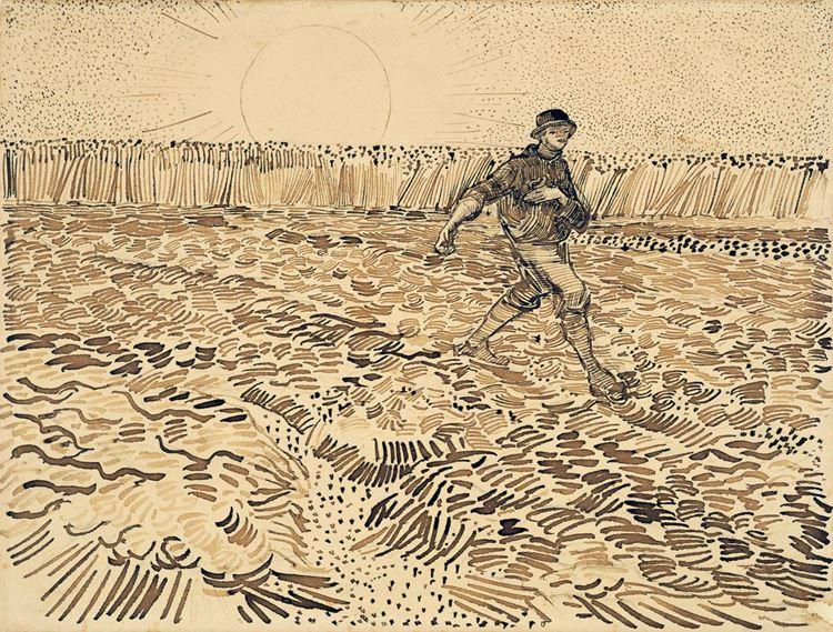 Tohum Serpen Adam (Millet'den esinle), 1888, Kalem ve mürekkep, 24.4 x 32 cm, Van Gogh Museum, Amsterdam, Hollanda.