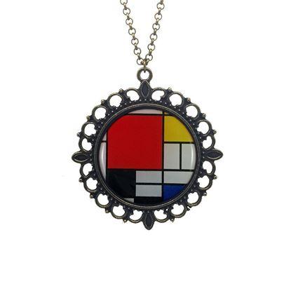 Mondrian - Kırmızı, Sarı, Mavi ve Siyah ile Kompozisyon - Kolye
