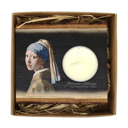 Picture of Vermeer  - Girl with a Pearl Earring - Wooden Candle Holder