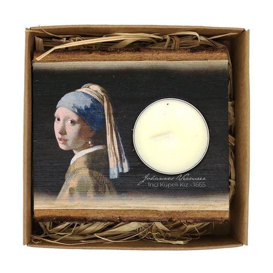 Vermeer - İnci Küpeli Kız - Ahşap Mumluk