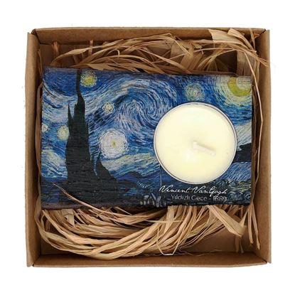 Van Gogh - Yıldızlı Gece - Ahşap Mumluk
