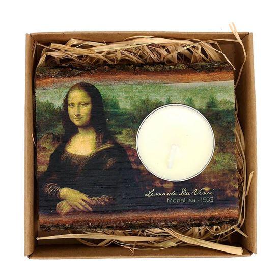 Da Vinci - Mona Lisa - Ahşap Mumluk